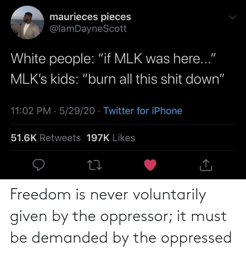 Must: Freedom is never voluntarily given by the oppressor; it must be demanded by the oppressed