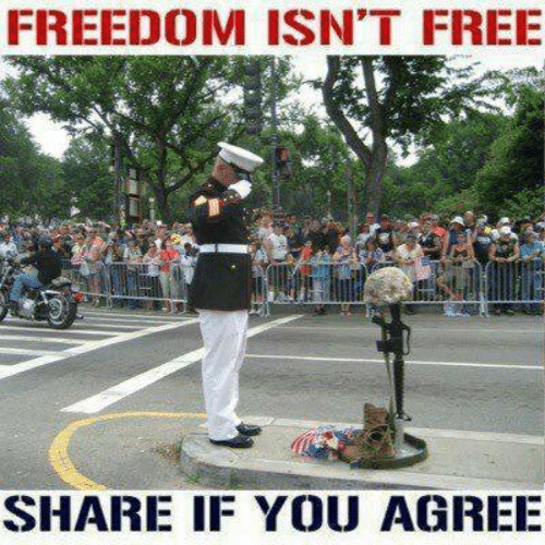 Memes, Free, and Freedom: FREEDOM ISN'T FREE  SHARE IF YOU AGREE