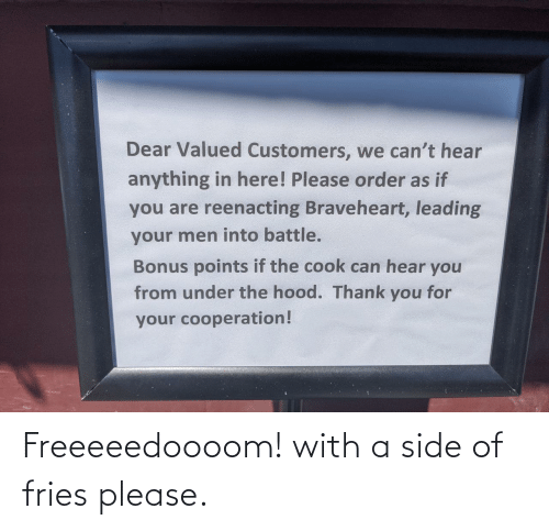 side: Freeeeedoooom! with a side of fries please.