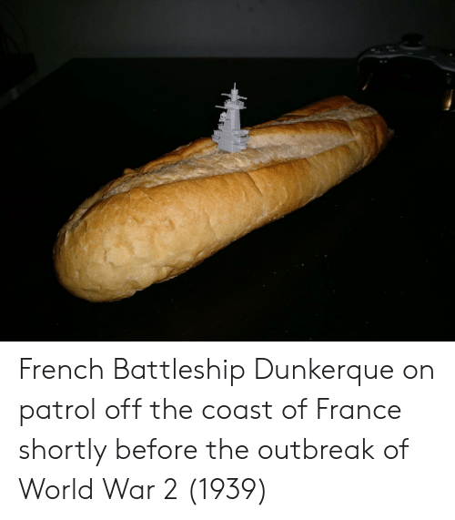 battleship: French Battleship Dunkerque on patrol off the coast of France shortly before the outbreak of World War 2 (1939)