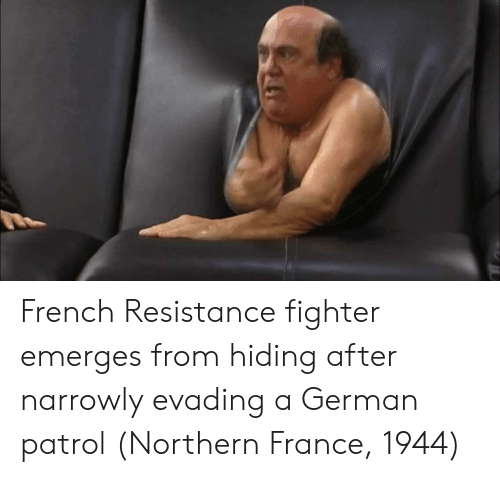 France, French, and Resistance: French Resistance fighter emerges from hiding after narrowly evading a German patrol (Northern France, 1944)