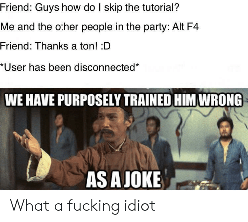 disconnected: Friend: Guys how do I skip the tutorial?  Me and the other people in the party: Alt F4  Friend: Thanks a ton! :D  *User has been disconnected*  WE HAVE PURPOSELY TRAINED HIM WRONG  AS A JOKE What a fucking idiot