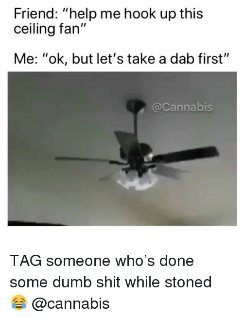 "Dumb, Shit, and Weed: Friend: ""help me hook up this  ceiling fan  Me: ""ok, but let's take a dab first""  @Cannabis TAG someone who's done some dumb shit while stoned 😂 @cannabis"