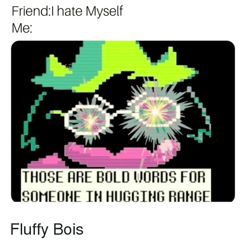Bold, Friend, and Fluffy: Friend:I hate Myself  Me  THOSE ARE BOLD WORDS FOR  SOMEOHE IN HUGGING RANGE Fluffy Bois