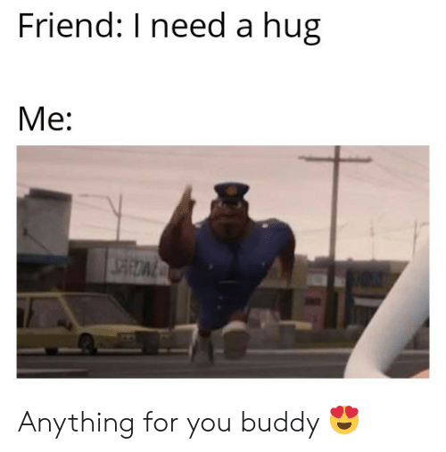 Friend, You, and Buddy: Friend: I need a hug  Me: Anything for you buddy 😍