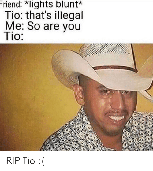 Lights, Friend, and Rip: Friend: *lights blunt*  Tio: that's illegal  Me: So are you  Tio: RIP Tio :(
