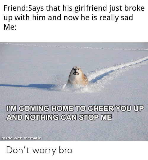 You Up: Friend:Says that his girlfriend just broke  up with him and now he is really sad  Ме:  PM COMING HOME TO CHEER YOU UP  AND NOTHING CAN STOP ME  made with mematic Don't worry bro