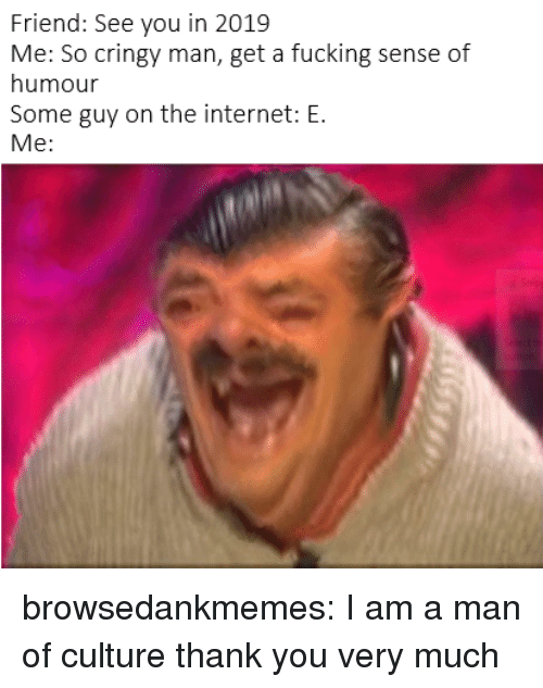 sense of humour: Friend: See you in 2019  Me: So cringy man, get a fucking sense of  humour  Some guy on the internet: E.  Me: browsedankmemes:  I am a man of culture thank you very much