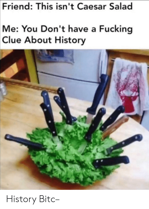 Fucking, History, and Clue: Friend: This isn't Caesar Salad  Me: You Don't have a Fucking  Clue About History History Bitc–