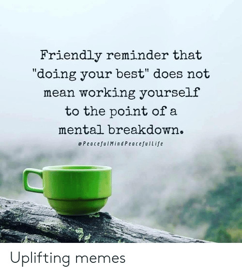 "Memes, Best, and Mean: Friendly reminder that  ""doing your best"" does not  mean working yourself  to the point of a  mental breakdown.  ePeacefulMind PeacefulLife Uplifting memes"