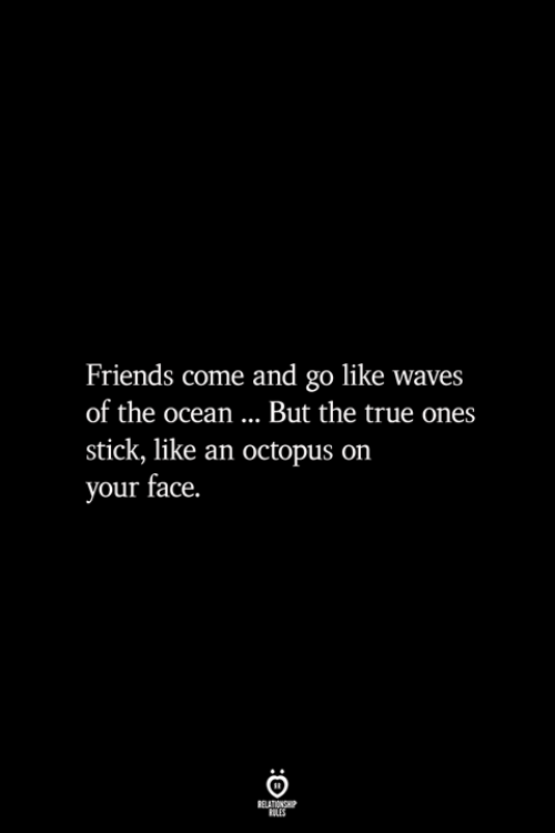 Octopus: Friends come and go like waves  of the ocean... But the true ones  stick, like an octopus on  your face.  BELATIONSHIP  LES