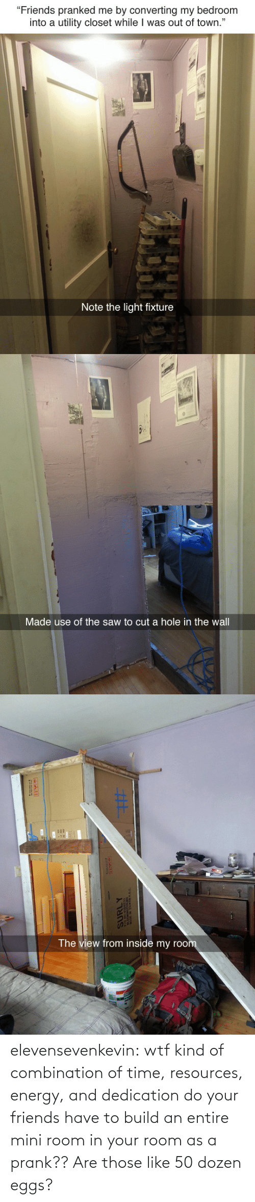 """the wall: """"Friends pranked me by converting my bedroom  into a utility closet while I was out of town.""""  Note the light fixture   Made use of the saw to cut a hole in the wall   The view from inside my roo elevensevenkevin:  wtf kind of combination of time, resources, energy, and dedication do your friends have to build an entire mini room in your room as a prank??    Are those like 50 dozen eggs?"""