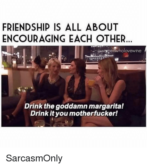 Funny, Memes, and Friendship: FRIENDSHIP IS ALL ABOUT  ENCOURAGING EACH OTHER  wanenwholovewine  Drink the goddamn margarital  Drink it you motherfucker! SarcasmOnly