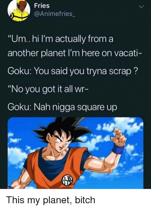 """Um Hi: Fries  @Animefries_  """"Um..hi I'm actually from a  another planet I'm here on vacati-  Goku: You said you tryna scrap?  """"No you got it all wr-  Goku: Nah nigga square up This my planet, bitch"""