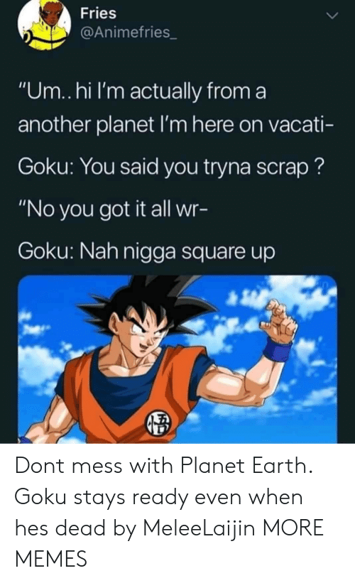 """Um Hi: Fries  @Animefries_  """"Um..hi I'm actually from a  another planet I'm here on vacati-  Goku: You said you tryna scrap?  """"No you got it all wr-  Goku: Nah nigga square up Dont mess with Planet Earth. Goku stays ready even when hes dead by MeleeLaijin MORE MEMES"""