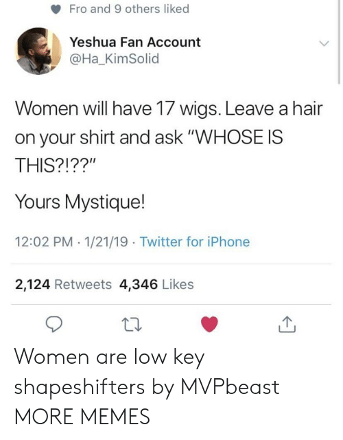 "Dank, Iphone, and Low Key: Fro and 9 others liked  Yeshua Fan Account  @Ha_KimSolid  Women will have 17 wigs. Leave a hair  on your shirt and ask ""WHOSE IS  THIS?!??""  Yours Mystique!  12:02 PM 1/21/19 Twitter for iPhone  2,124 Retweets 4,346 Likes Women are low key shapeshifters by MVPbeast MORE MEMES"