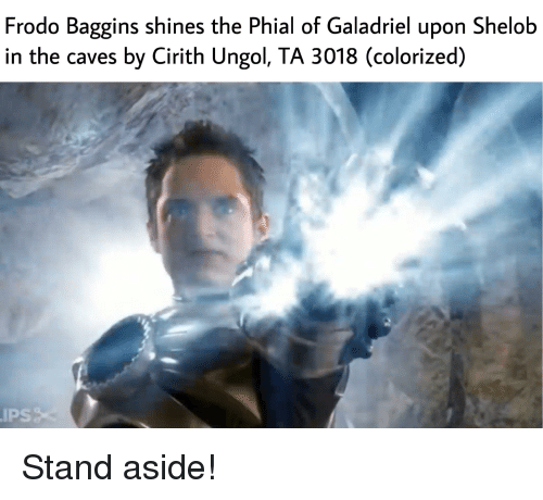 Frodo Baggins Shines The Phial Of Galadriel Upon Shelob In The Caves