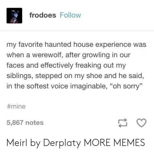 """haunted house: frodoes Follow  my favorite haunted house experience was  when a werewolf, after growling in our  faces and effectively freaking out my  siblings, stepped on my shoe and he said,  in the softest voice imaginable, """"oh sorry""""  #mine  5,867 notes Meirl by Derplaty MORE MEMES"""