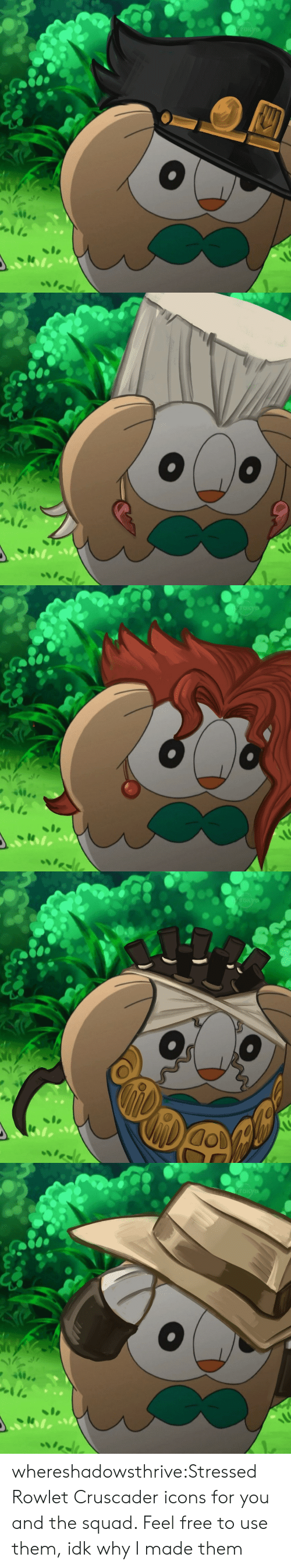 Squad, Tumblr, and Blog: frokyD whereshadowsthrive:Stressed Rowlet Cruscader icons for you and the squad. Feel free to use them, idk why I made them