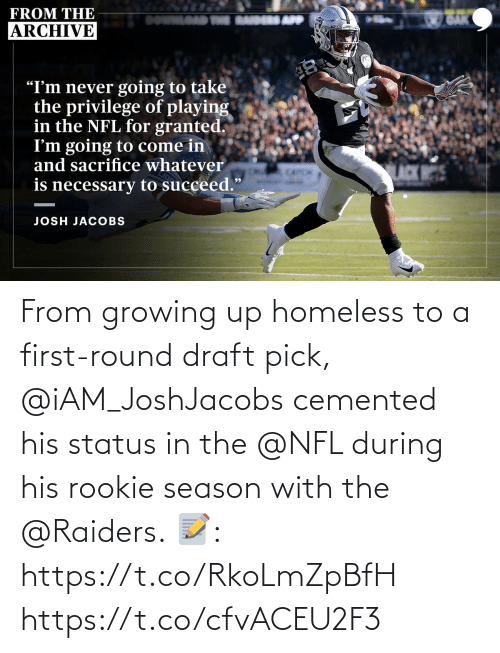 Growing up: From growing up homeless to a first-round draft pick, @iAM_JoshJacobs cemented his status in the @NFL during his rookie season with the @Raiders.  📝: https://t.co/RkoLmZpBfH https://t.co/cfvACEU2F3