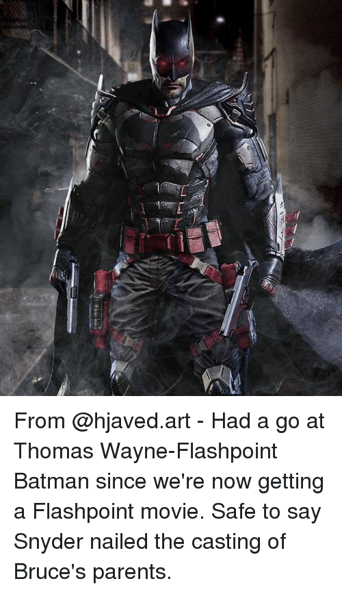 Batman, Memes, and Parents: From @hjaved.art - Had a go at Thomas Wayne-Flashpoint Batman since we're now getting a Flashpoint movie. Safe to say Snyder nailed the casting of Bruce's parents.