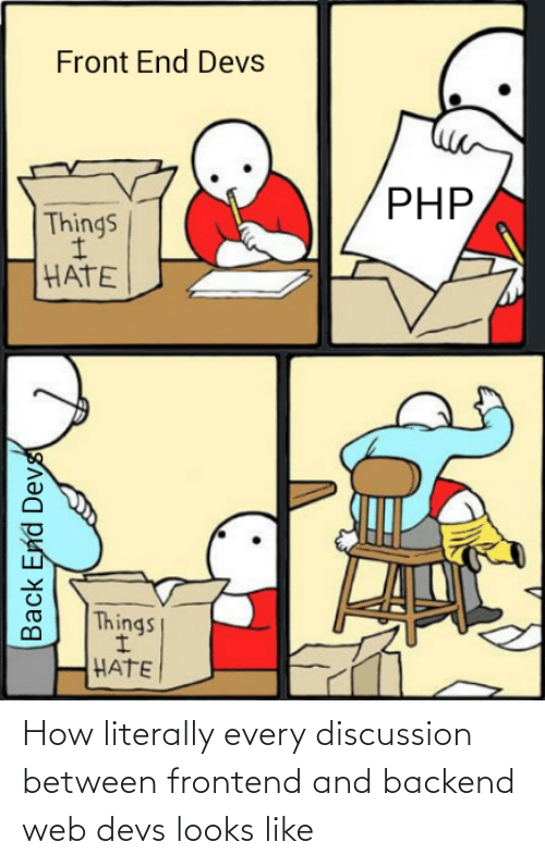 Looks Like: Front End Devs  PHP,  Things  HATE  Things  HATE  Back End Devs How literally every discussion between frontend and backend web devs looks like