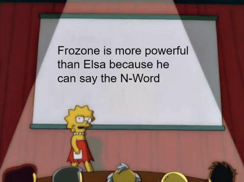 Elsa, Frozone, and Word: Frozone is more powerful  than Elsa because he  can say the N-Word