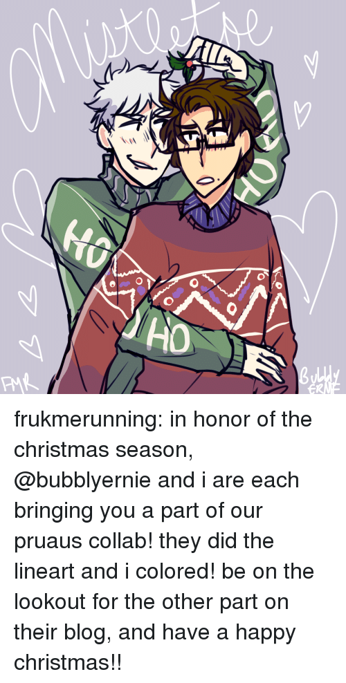 Christmas, Target, and Tumblr: frukmerunning:  in honor of the christmas season, @bubblyernie and i are each bringing you a part of our pruaus collab! they did the lineart and i colored! be on the lookout for the other part on their blog, and have a happy christmas!!