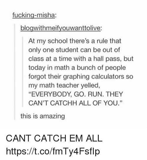 """misha: fucking-misha:  bloawithmeifvouwanttolive:  At my school there's a rule that  only one student can be out of  class at a time with a hall pass, but  today in math a bunch of people  forgot their graphing calculators so  my math teacher yelled,  """"EVERYBODY, GO. RUN. THEY  CAN'T CATCHH ALL OF YOU.""""  60  this is amazing CANT CATCH EM ALL https://t.co/fmTy4FsfIp"""