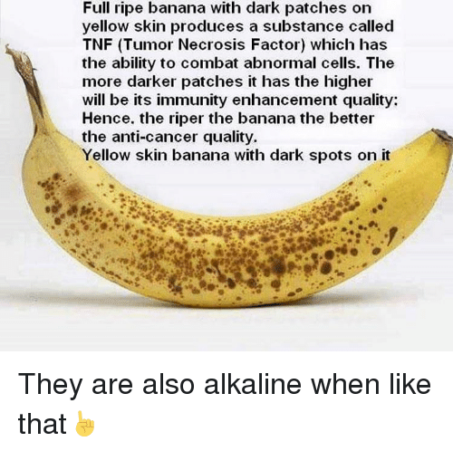 Memes, Banana, and Cancer: Full ripe banana with dark patches on  yellow skin produces a substance called  TNF (Tumor Necrosis Factor) which has  the ability to combat abnormal cells. The  more darker patches it has the higher  will be its immunity enhancement quality:  Hence. the riper the banana the better  the anti-cancer quality.  Yellow skin banana with dark spots on it They are also alkaline when like that☝