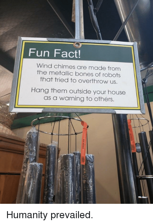metallic: Fun Fact!  Wind chimes are made from  the metallic bones of robots  that tried to overthrow us.  Hang them outside your house  as a warning to others. Humanity prevailed.