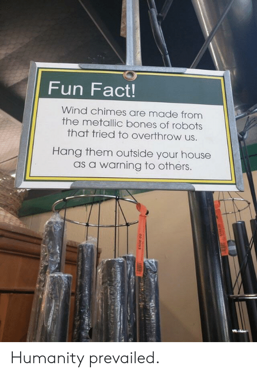 Bones, House, and Humanity: Fun Fact!  Wind chimes are made from  the metallic bones of robots  that tried to overthrow us.  Hang them outside your house  as a warning to others. Humanity prevailed.