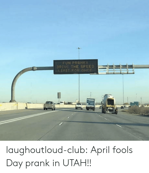 Club, Prank, and Tumblr: FUN PRRNK  RIUE THE SPEED  LIMIT EOR ONCE laughoutloud-club:  April fools Day prank in UTAH!!