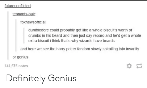 Insanity: futureconflicted  tennants-hair  foxnewsofficial  dumbledore could probably get like a whole biscuit's worth of  crumbs in his beard and then just say reparo and he'd get a whole  extra biscuit i think that's why wizards have beards  and here we see the harry potter fandom slowly spiralling into insanity  or genius  141,575 notes Definitely Genius