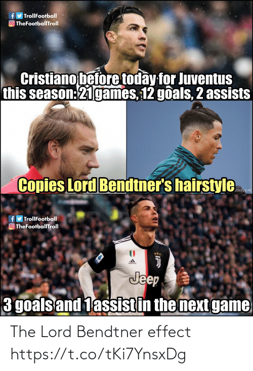 goals: fy TrollFootball  O TheFootballTroll  Cristiano before today for Juventus  this season:21games, 12 goals, 2 assists  Copies Lord Bendtner's hairstyle  JENTUS FC  fyTrollFootball  OTheFootballTroll  Jeep  3 goals and 1assistin the next game The Lord Bendtner effect https://t.co/tKi7YnsxDg