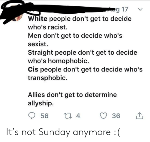 Tumblr, White People, and White: g 17  White people don't get to decide  who's racist  Men don't get to decide who's  sexist  Straight people don't get to decide  who's homophobic  Cis people don't get to decide who's  transphobic  Allies don't get to determine  allyship  L 4  56  36 It's not Sunday anymore :(