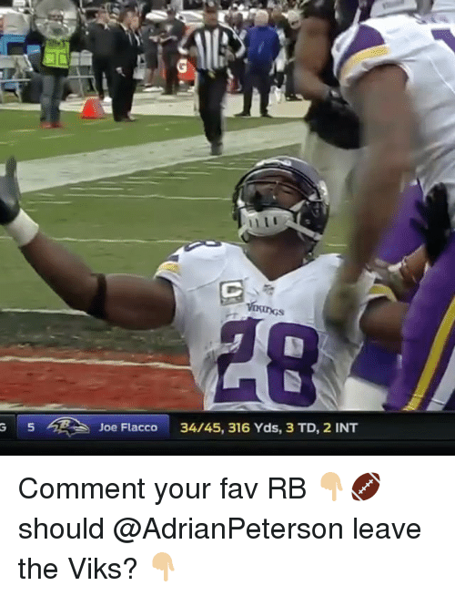 Memes, Joe Flacco, and 🤖: G 5 Joe Flacco  34/45, 316 Yds, 3 TD, 2 INT Comment your fav RB 👇🏼🏈 should @AdrianPeterson leave the Viks? 👇🏼