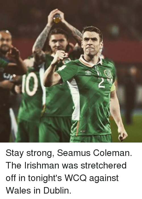 Memes, 🤖, and Dublin: G  IQ Stay strong, Seamus Coleman. The Irishman was stretchered off in tonight's WCQ against Wales in Dublin.