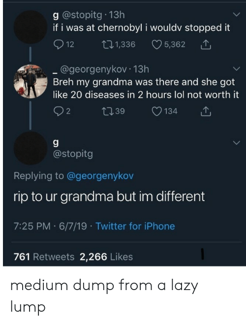 Grandma, Iphone, and Lazy: g @stopitg 13h  if i was at chernobyl i wouldv stopped it  12  L.1,336  5,362  .@georgenykov 13h  Breh my grandma was there and she got  like 20 diseases in 2 hours lol not worth it  t39  134  2  g  @stopitg  Replying to @georgenykov  rip to ur grandma but im different  7:25 PM 6/7/19 Twitter for iPhone  761 Retweets 2,266 Likes medium dump from a lazy lump