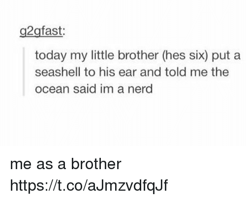 Nerd, Ocean, and Today: g2gfast  today my little brother (hes six) put a  seashell to his ear and told me the  ocean said im a nerd me as a brother https://t.co/aJmzvdfqJf