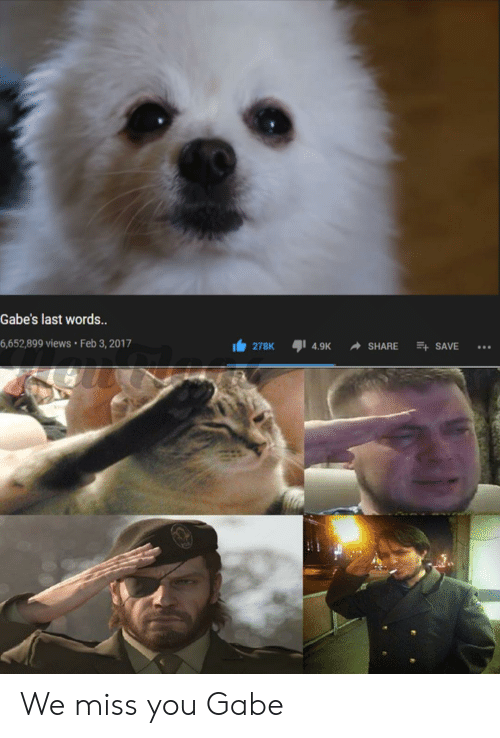 Reddit, Last Words, and Words: Gabe's last words.  6,652,899 views Feb 3, 2017  278K  E SAVE  4.9K  SHARE We miss you Gabe