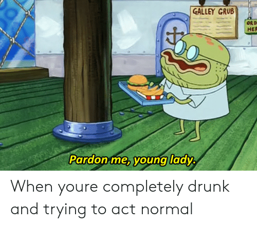 Drunk, Her, and Act: GALLEY GRUB  HER  Pardon me, young lady When youre completely drunk and trying to act normal