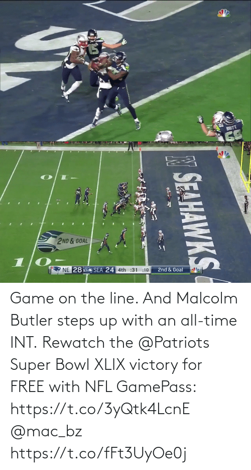 Super Bowl: Game on the line. And Malcolm Butler steps up with an all-time INT.  Rewatch the @Patriots Super Bowl XLIX victory for FREE with NFL GamePass: https://t.co/3yQtk4LcnE @mac_bz https://t.co/fFt3UyOe0j