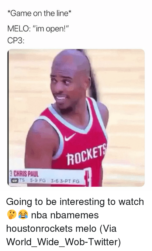 """Basketball, Nba, and Sports: *Game on the line  MELO: """"im open!""""  CP3:  ROCKE  HIS PU35-6 3.PT FO  GIFT  TS 5-9 FG 3-63-PT FG Going to be interesting to watch 🤔😂 nba nbamemes houstonrockets melo (Via World_Wide_Wob-Twitter)"""