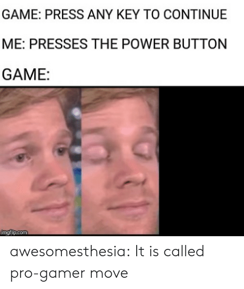 Tumblr, Blog, and Game: GAME: PRESS ANY KEY TO CONTINUE  ME: PRESSES THE POWER BUTTON  GAME:  imgflip.com awesomesthesia:  It is called pro-gamer move
