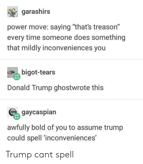"Donald Trump, Power, and Time: garashirs  power move: saying ""that's treason""  every time someone does something  that mildly inconveniences you  bigot-tears  Donald Trump ghostwrote this  gaycaspiar  awfully bold of you to assume trump  could spell 'inconveniences Trump cant spell"