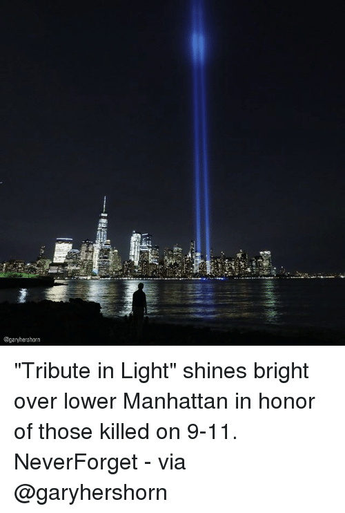 "9/11, Memes, and Manhattan: @garyhershorn ""Tribute in Light"" shines bright over lower Manhattan in honor of those killed on 9-11. NeverForget - via @garyhershorn"