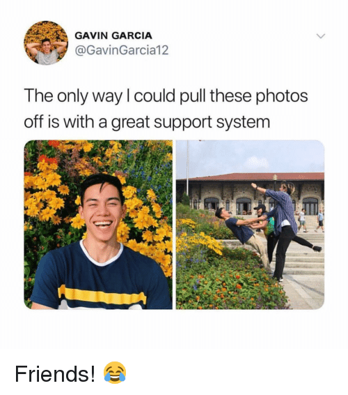 Friends, Memes, and 🤖: GAVIN GARCIA  @GavinGarcia12  The only way l could pull these photos  off is with a great support system Friends! 😂