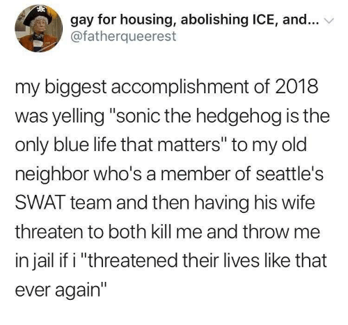 """Jail, Life, and Sonic the Hedgehog: gay for housing, abolishing ICE, and...  @fatherqueerest  my biggest accomplishment of 2018  was yelling """"sonic the hedgehog is the  only blue life that matters"""" to my old  neighbor who's a member of seattle's  SWAT team and then having his wife  threaten to both kill me and throw me  in jail if i """"threatened their lives like that  ever again"""""""