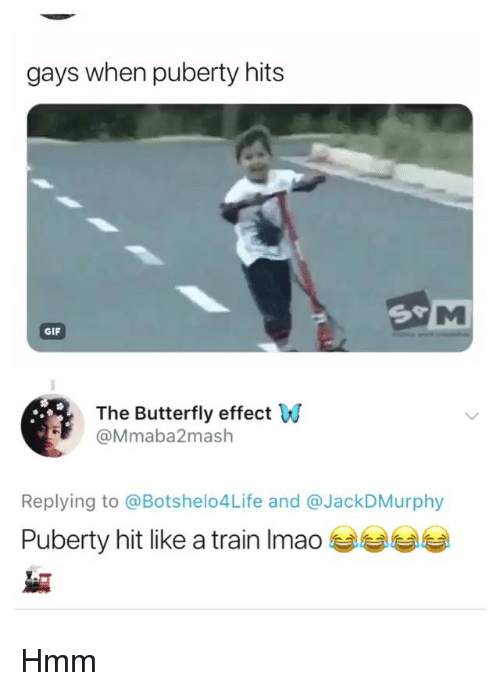 Gif, Memes, and Butterfly: gays when puberty hits  GIF  The Butterfly effect W  @Mmaba2mash  Replying to @Botshelo4Life and @JackDMurphy  Puberty hit like a train Imao Hmm